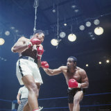 Boxers Cassius Clay and Sonny Liston During Match, in Lewiston, Maine Premium Photographic Print by John Dominis