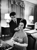 Hairdresser Ross McArthur Giving Finishing Touch to Former Child Star Shirley Temple's Hair Premium Photographic Print by Alfred Eisenstaedt