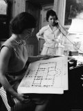 First Lady Jacqueline Kennedy Looking over Blueprints While Continuing to Redecorate White House Premium Photographic Print by Ed Clark