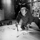 Painter Jackson Pollock Working in His Long Island Studio Adjacent to His Home Premium Photographic Print by Martha Holmes