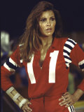 """Actress Raquel Welch in Uniform During Filming of Motion Picture """"The Kansas City Bomber"""" Premium Photographic Print by Bill Eppridge"""