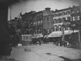 People on Fulton St, Including Horse Drawn Ice Truck, Construction of Elevated RR Premium Photographic Print by Wallace G. Levison