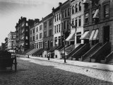 Rows of Brownstone Apartment Buildings, Some with Striped Awnings, on 88th St. Near Amsterdam Ave Photographic Print by Wallace G. Levison