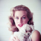Portrait of Swedish Born Actress Anita Ekberg Holding Small Dog Reproduction photographique sur papier de qualité par Allan Grant