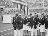 Rafer Johnson Leading USA Athletes During the Opening Day. 1960 Olympics. Rome, Italy Premium Photographic Print by Mark Kauffman