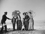 Montgomery Family Dressed Up and Preparing to Pose by Shoreline of Beach at Stokemus Premium Photographic Print by Wallace G. Levison