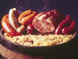 Choucroute Garni Meal of Sauerkraut: Kielbasa, Veal Sausage, Knackwurst, Pork Butt and Bratwurst Fotografisk trykk av John Dominis