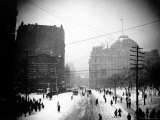 Downtown at 1:30 P.M. on Park Row During the Snow of the Blizzard of 1888 Premium Photographic Print by Wallace G. Levison