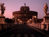 Statue Lined Ponte St'Angelo Leading Towards Castel Sant'Angelo, Mausoleumby Roman Emperor Hadrian Photographic Print by Dmitri Kessel