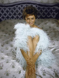 Actress Sophia Loren Wearing Feather Boa Posing in Her Bedroom Premium Photographic Print by Loomis Dean
