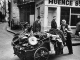 Rag Picker/Junk Dealer with His Cart Standing at Corner of Rue Xavier Privas and Rue de La Huchette Photographic Print by Alfred Eisenstaedt