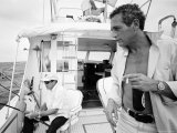 Actor Paul Newman Fishing with a Friend Premium Photographic Print by Mark Kauffman