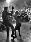 "Pop Singer Chubby Checker Singing His Hit Song ""The Twist"" at the Crescendo Nightclub Metal Print by Ralph Crane"
