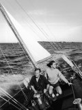 Nelson Rockefeller and Wife Happy Sailing Premium Photographic Print by Alfred Eisenstaedt