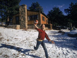 Musician Stephen Stills Tossing a Football at Home Premium Photographic Print by Billray
