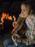 Musician Stephen Stills Playing Guitar at Home Premium Photographic Print by Billray