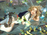 Jane Fonda is Preyed Upon by Parakeets and Finches in Scene from Roger Vadim&#39;s &quot;Barbarella&quot; Premium Photographic Print by Carlo Bavagnoli