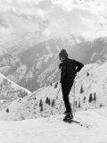 Actor Robert Redford Skiing Premium fotografisk trykk av John Dominis