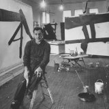 Abstract Expressionist Painter Franz Kline Perching on Stool in His Studio Premium Photographic Print by Fritz Goro