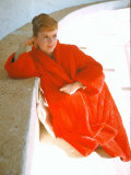 Portrait of Actress Debbie Reynolds in Red Coat Premium Photographic Print by Loomis Dean