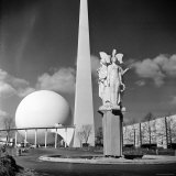 "View of Iconic Perisphere and Trylon, Helicline and Statue ""Victories at Peace"" by John Gregory Photographic Print by Alfred Eisenstaedt"