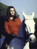"Actress Elizabeth Taylor on Horseback During Filming of ""Reflections in a Golden Eye"" Premium Photographic Print by Loomis Dean"