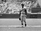Los Angeles Dodgers Pitcher Sandy Koufax Taking the Field During Game Against the Milwaukee Braves Premium Photographic Print by Robert W. Kelley
