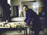 Painter Balthus at Work in His Studio in the Chateau de Chassy Reproduction photographique Premium par Loomis Dean