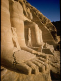Edifice Built by Ramses II with Figures of Son and Queen Nefertari and Falcons Premium Photographic Print by James Burke