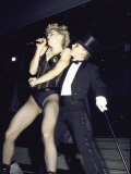 Singer Madonna Performing with Dancer Premium Photographic Print by David Mcgough