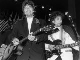 Musicians George Harrison and Bob Dylan Performing at Rock and Roll Hall of Fame Premium Photographic Print by David Mcgough