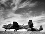 Two Camouflaged A-20 Attack Planes Sitting on Airstrip at American Desert Air Base, WWII Photographic Print by Margaret Bourke-White