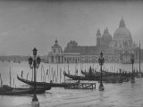 Moored Gondolas in Grand Canal by Flooded Piazza San Marco with Santa Maria Della Salute Church Photographic Print by Dmitri Kessel