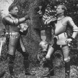 Adrian Conan Doyle and Douglas Ash Toast Each Other with a Glass of Wine After Their Jousting Match Premium Photographic Print by Mark Kauffman