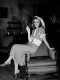 "Katharine Hepburn in chair Smoking Cigarette in Scene from Broadway Show ""The Philadelphia Story"" Premium Photographic Print by Alfred Eisenstaedt"