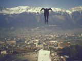 Skier Taking Off from the Bergisel Jump Hangs During Innsbruck Winter Olympics Competition Fotoprint van Ralph Crane