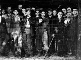 Emaciated Male Prisoners Behind Barbed Wire Fence at Buchenwald Concentration Camp Premium Photographic Print by Margaret Bourke-White