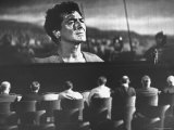 "Cinemascope Screen with Image of Actor Victor Mature as Demetrius in Calvary Scene from ""The Robe"" Premium Photographic Print by J. R. Eyerman"