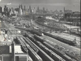 Aerial View Overlooking Network of Tracks for 20 Major Railroads Converging on Union Station Premium Photographic Print by Andreas Feininger