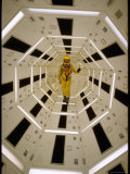 Distance Shot of Actor in Astronaut Suit Walking Through Geometrically Designed Hal Computer Center Premium Photographic Print by Dmitri Kessel