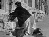 Housewife Washing Her White Stoop During Part of Her Daily Routine Premium Photographic Print by Margaret Bourke-White
