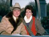 Actors Larry Hagman and Linda Gray Premium Photographic Print by David Mcgough