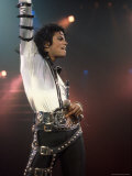Singer Michael Jackson Performing Premium Photographic Print by David Mcgough