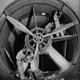 Scientists at California Institute of Technology Working on Large Propeller Photographic Print by Bernard Hoffman