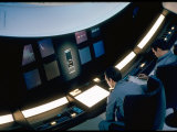 "Actors Keir Dullea and Gray Lockwood Sitting at Console in Scene of ""2001: A Space Odyssey"" Premium Photographic Print by Dmitri Kessel"