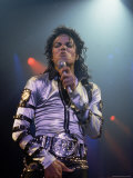 Pop Entertainer Michael Jackson Singing at Event Premium Photographic Print by David Mcgough
