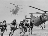 S. Vietnamese ARVN Paratroopers Running to Board 2 Ch 21 Shawnee Helicopters in Mekong Delta Premium Photographic Print by Larry Burrows