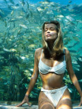 Model Frederique Van Der Wal Wearing Bathing Suit with Aquarium Background Premium Photographic Print by Gene Gale