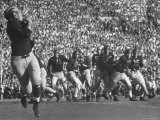Michigan University's Bob Mann Catching a Pass From His QB Bob Chappuis Premium Photographic Print by John Florea