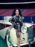 Singer Diana Ross, Sitting on Hood of Rolls Royce Premium Photographic Print by Ann Clifford
